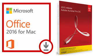 Microsoft Office 2016 for Mac (Download) with Adobe Acrobat Pro 2017 (Mac - DVD) LARGE