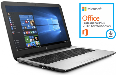 "HP 15-BA005DS 15.6"" 4GB Laptop with Microsoft Office 2016 (White Silver)"