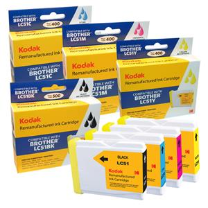 Kodak Brand Ink Cartridge Compatible With Brother LC-51 (Combo Pack - B/C/M/Y) LARGE