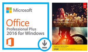 Microsoft Office 2016 with Adobe Photoshop/Premiere Elements 15 (Windows)