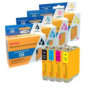 Kodak Brand Ink Cartridge Compatible With Epson 125 (Combo Pack: B/C/M/Y) LARGE