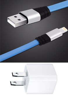 6-Foot Tangle-Free Flat Lightning Cable with USB Power Adapter