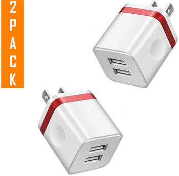 2 Port Power Charger Adapter USB 5V AC/DC for iPhone/Smartphones/iPad - (2 PACK) LARGE