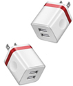 2 Port Power Charger Adapter USB 5V AC/DC for iPhone/Smartphones/iPad - (2 PACK)