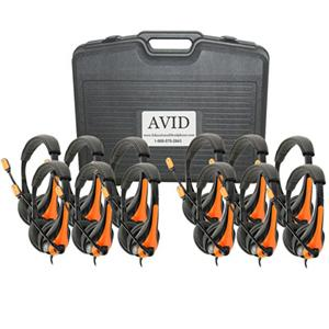 Avid AE-36 On-Ear Headset with Mic (Classroom 12-Pack with Case) (Orange)