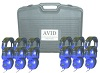 Avid AE-808 Over-Ear Headphones Classroom 12-Pack with Case (Blue)