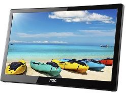 "AOC 16"" LED LCD USB Powered Portable Full HD IPS Monitor with Case LARGE"