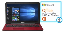 "ASUS X555DA 15.6"" AMD A10 12GB Laptop with SonicMaster Audio & MS Office Pro 2016 (Red)"
