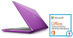 "Dell Inspiron 15-5565 15.6"" AMD A9 8GB RAM Notebook PC with MS Office Pro 2016 (Purple)"