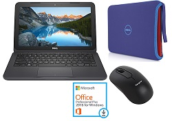 "Dell Inspiron 11 3180 11.6"" AMD A6 4GB RAM Laptop Student Bundle w/MS Office Pro 2016"