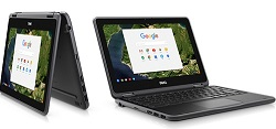 "Dell Chromebook 3189 11.6"" Touchscreen Intel Celeron 4GB RAM 64GB eMMC 2-in1 Chromebook PC"