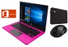 "Ematic 11.6"" Touchscreen Intel Atom 2GB RAM Laptop Student Bundle w/MS Office Pro 2019 (Pink)"