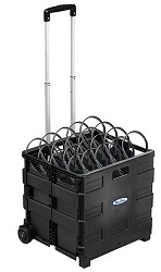 HamiltonBuhl Classroom Headphones 50-Pack with Rolling Crate LARGE