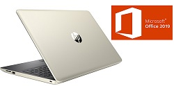 "HP 15-DA 15.6"" Intel Celeron 4GB Laptop PC w/Microsoft Office Pro 2019 (Pale Gold) (Refurbished)"