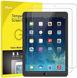 JeTech Tempered Glass Screen Protector for Apple iPad 2017, iPad Pro 9.7 & iPad Air/Air 2 (2-Pack) LARGE