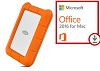LaCie Rugged USB-C 2TB Portable Hard Drive with Microsoft Office 2016 for Mac