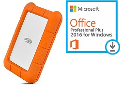 LaCie Rugged USB-C 1TB Portable Hard Drive with Microsoft Office Pro Plus for Windows