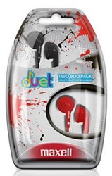 Maxell Duet 2-Pack Stereo Earbuds (Black/Red)