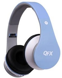 QFX Wireless Bluetooth Headphones with MicroSD Slot (Blue)
