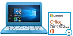 "HP Stream 14"" Intel Celeron 4GB RAM 64GB Storage Laptop PC w/MS Office Pro Plus 2016 (Blue)"