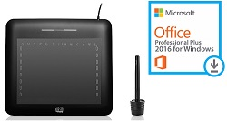 "Microsoft Office 2016 with Adesso CyberTablet T10 8"" x 6"" Ultra-Slim Graphics Tablet (Windows)"