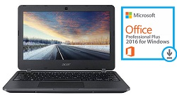 "Acer TravelMate B117 11.6"" Intel Celeron 4GB RAM 64GB Laptop with Microsoft Office Pro 2016"