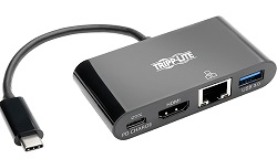 Tripp Lite USB-C to HDMI Adapter with USB-A Hub, Gigabit Ethernet, Thunderbolt 3 & More LARGE