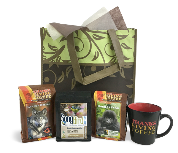 Thanksgiving Coffee Animal Lover's Gift Set - three Cause Coffees and coffee mug MAIN
