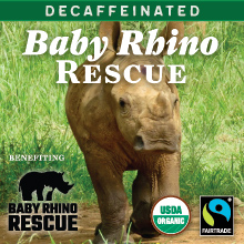 Thanksgiving Coffee Baby Rhino Rescue - dark roast, organic, water processed decaf blend THUMBNAIL