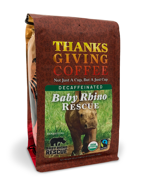 Thanksgiving Coffee Baby Rhino Rescue - dark roast, organic, water processed decaf blend MAIN