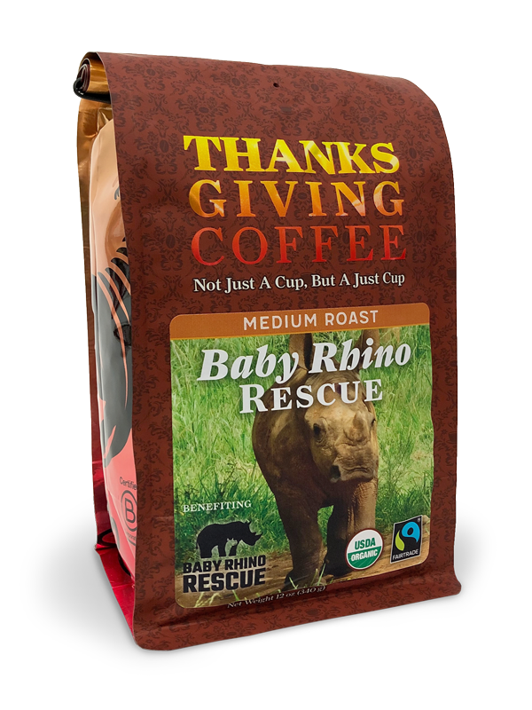 Thanksgiving Coffee Baby Rhino Rescue - medium roast, organic blend MAIN