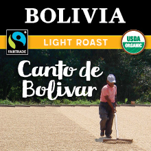 Thanksgiving Coffee Canto de Bolivar - light roast, Fair Trade, organic, single origin coffee beans from Bolivia THUMBNAIL