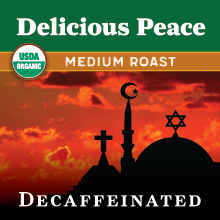 Thanksgiving Coffee Delicious Peace Decaf - medium roast, organic blend, water processed THUMBNAIL