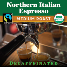 Thanksgiving Coffee Northern Italian Style Espresso Decaf - medium roast, Fair Trade, organic THUMBNAIL