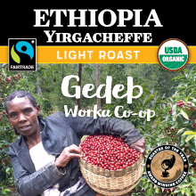 Thanksgiving Coffee Ethiopia Yirgacheffe - light roast, Fair Trade, organic, single origin THUMBNAIL