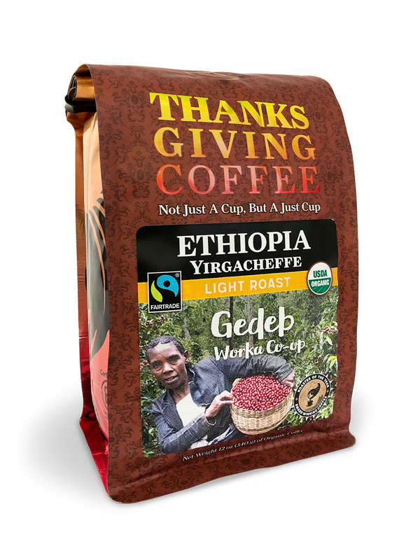 Thanksgiving Coffee Ethiopia Yirgacheffe - light roast, Fair Trade, organic, single origin MAIN