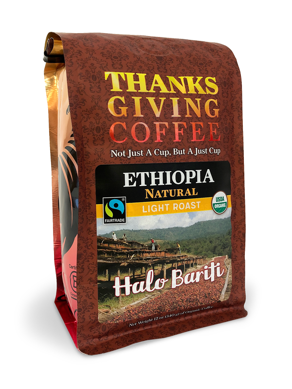 Thanksgiving Coffee Ethiopia Natural - light roast, Fair Trade, organic, single origin MAIN