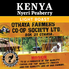 Thanksgiving Nyeri Peaberry Kenyan Coffee - light roast, single origin THUMBNAIL