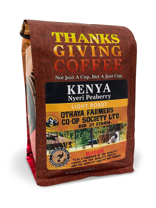 Thanksgiving Nyeri Peaberry Kenyan Coffee - light roast, single origin MAIN
