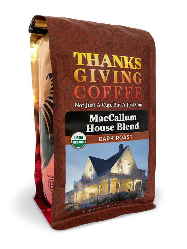 Thanksgiving Coffee MacCallum House Blend - dark roast, organic coffee beans from Nicaragua MAIN