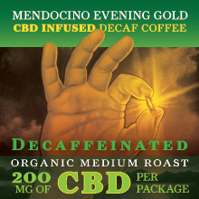Thanksgiving Coffee Mendocino Evening Gold - Decaf CBD infused, medium roast, organic blend THUMBNAIL