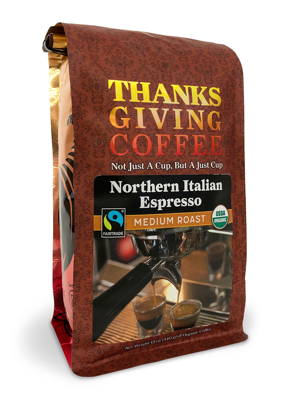 Thanksgiving Coffee Northern Italian Style Espresso - medium roast, Fair Trade, organic MAIN