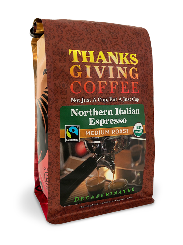 Thanksgiving Coffee Northern Italian Style Espresso Decaf - medium roast, Fair Trade, organic MAIN