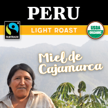 Thanksgiving Coffee Miel de Cajamarca - light roast, Fair Trade, organic, single origin coffee beans from Peru THUMBNAIL