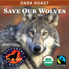 Thanksgiving Coffee Save Our Wolves Dark Roast - organic, Fair Trade blend THUMBNAIL