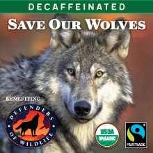 Thanksgiving Coffee Save Our Wolves Decaf - organic, Fair Trade blend THUMBNAIL