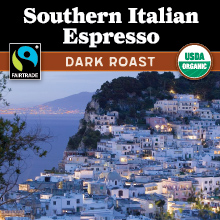 Thanksgiving Coffee Southern Italian Style Espresso - dark roast, Fair Trade, organic THUMBNAIL
