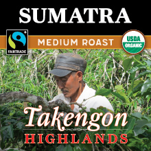 Thanksgiving Coffee Sumatra Medium Roast- organic, Fair Trade, single origin Sumatran coffee beans THUMBNAIL