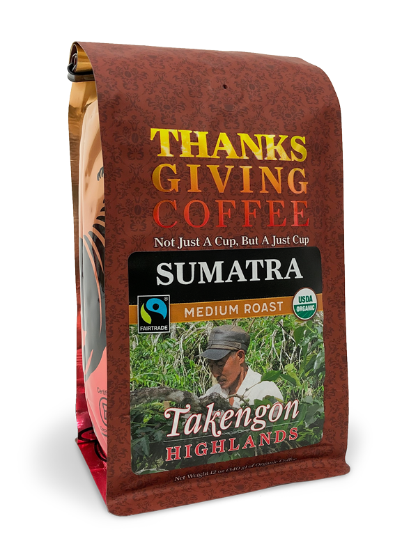 Thanksgiving Coffee Sumatra Medium Roast- organic, Fair Trade, single origin Sumatran coffee beans MAIN