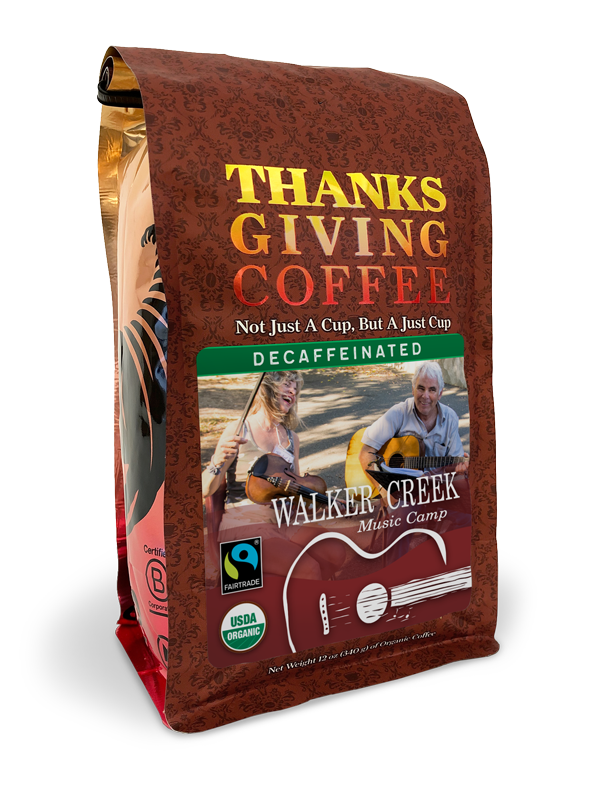 Thanksgiving Coffee Walker Creek Music Camp - dark roast, organic, water processed decaf blend MAIN